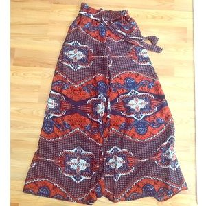 TRUTH NYC - Burnt Ora/Nvy Boho Wide Leg Pants Sz M
